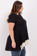 Black Crochet Trim Plus Top