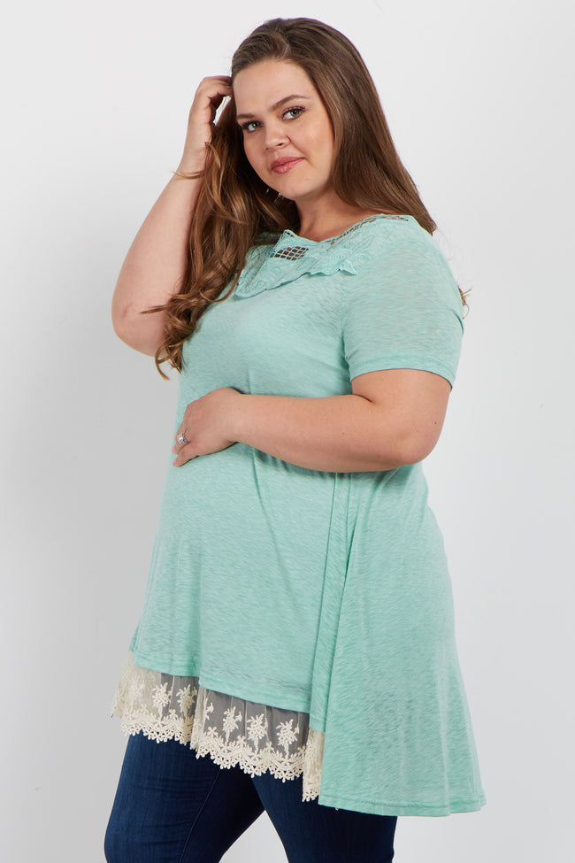 Green Crochet Trim Plus Maternity Top