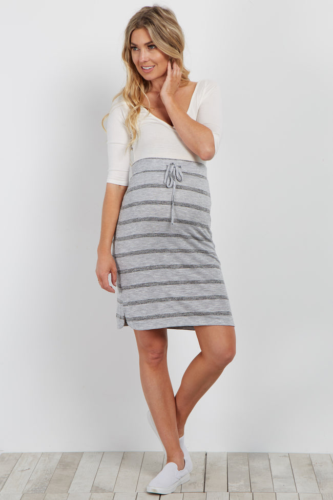 Grey Striped Drawstring Maternity Skirt
