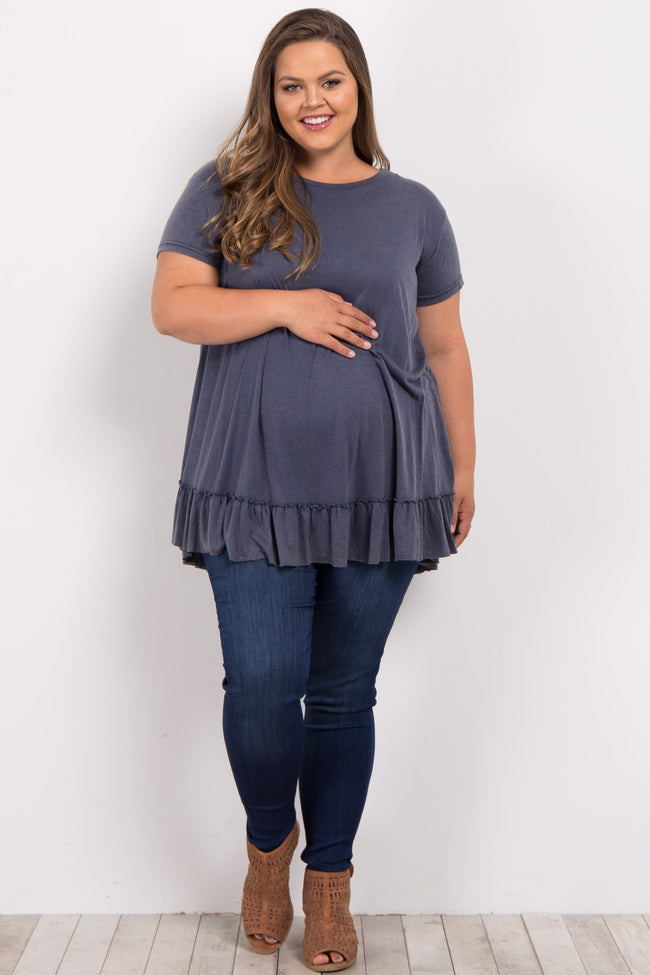 Navy Faded Peplum Trim Plus Maternity Top