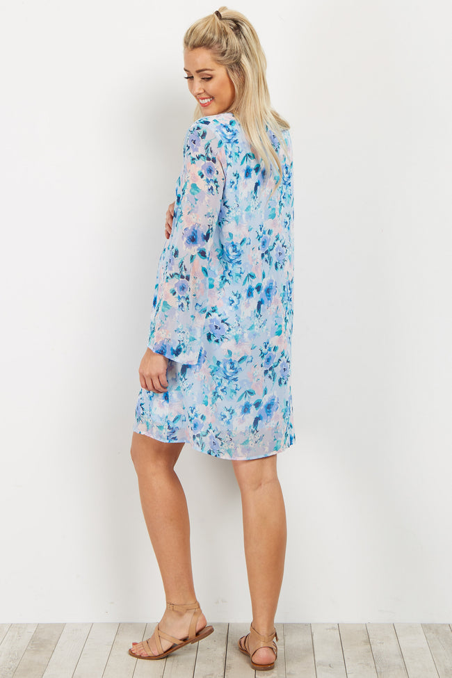 Blue Floral V Neck Chiffon Maternity Dress