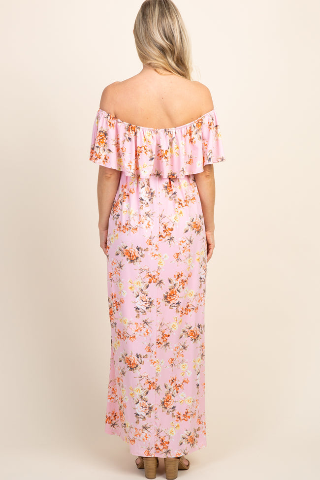 Light Pink Floral Off Shoulder Sash Tie Maternity Maxi Dress