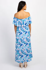 Light Blue Floral Off Shoulder Sash Tie Maternity Maxi Dress