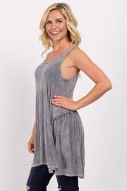 Charcoal Grey Ribbed Scoop Back Tunic