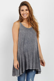 Charcoal Grey Ribbed Scoop Back Maternity Tank
