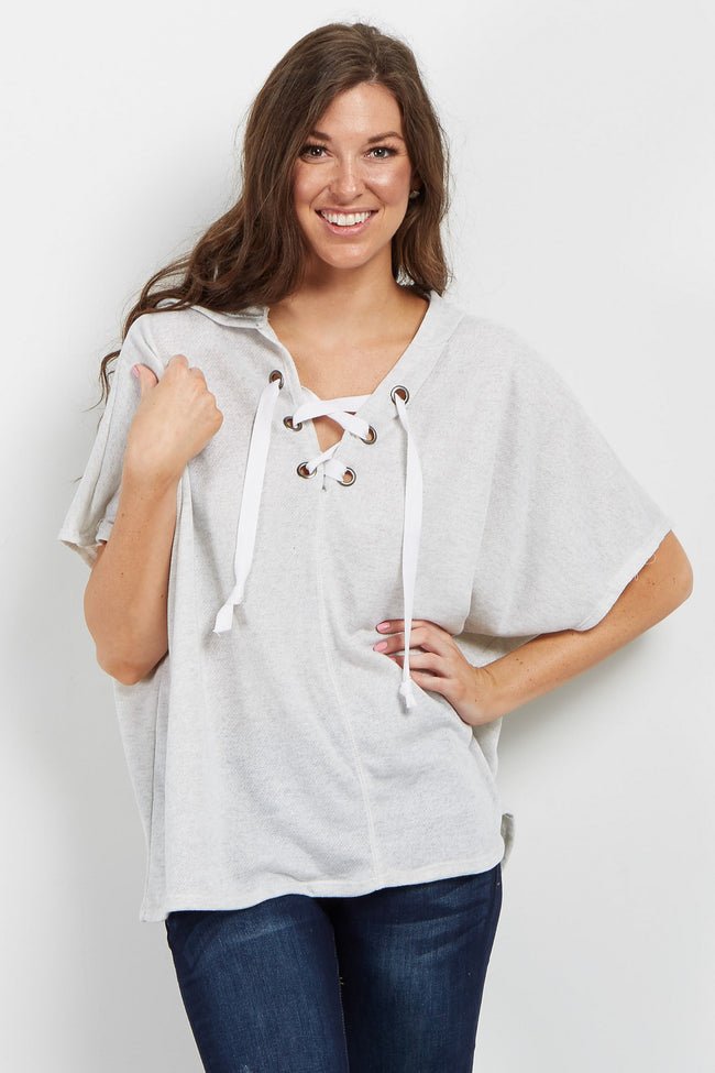 Heather Grey Lace-Up Hooded Top
