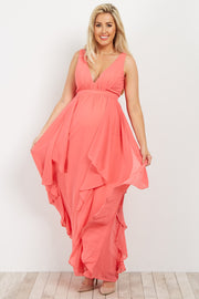 Coral Deep V Ruffle Chiffon Maternity Gown