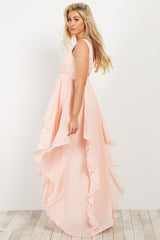 Light Pink Deep V Ruffle Chiffon Maternity Gown