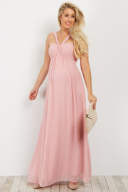 Pink Open Back Chiffon Maternity Gown