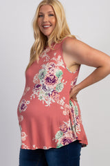 Pink Floral Print Plus Maternity Tank Top