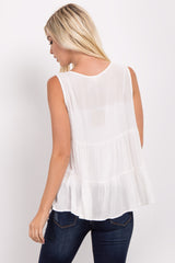 White Tiered Front Tie Sleeveless Top
