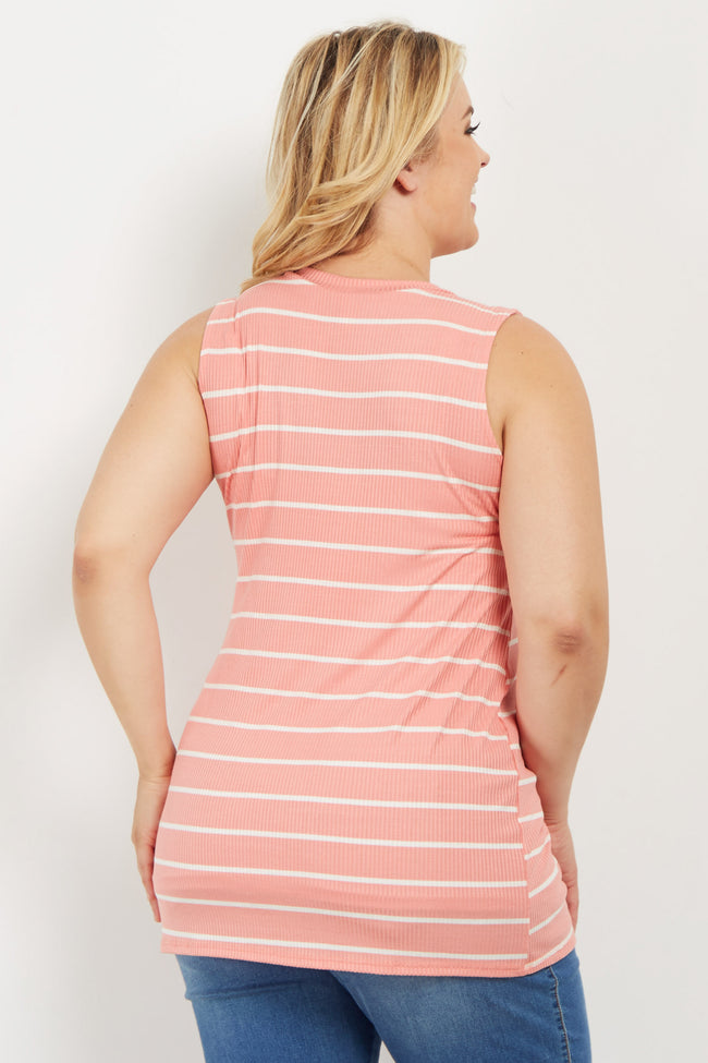 Pink Striped Mock Neck Plus Maternity Top