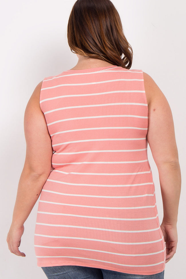 Pink Striped Mock Neck Plus Top
