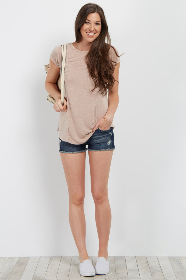 Mauve Faded Lace-Up Back Top