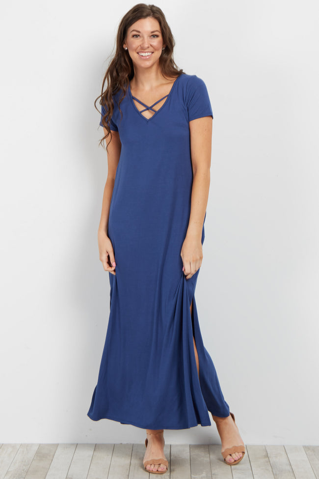 Blue Basic Crisscross Neckline Maternity Maxi Dress