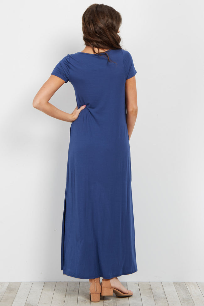 Blue Basic Crisscross Neckline Maxi Dress