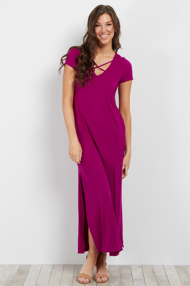 Magenta Basic Crisscross Neckline Maternity Maxi Dress