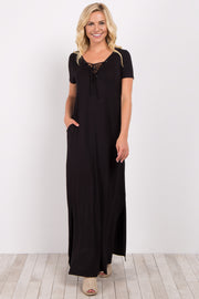 Black Basic Lace-Up Maxi Dress