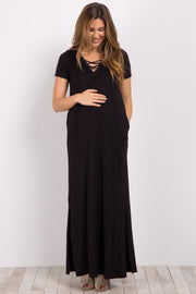 Black Basic Lace-Up Maternity Maxi Dress