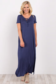Navy Basic Lace-Up Maxi Dress
