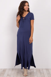 Navy Basic Lace-Up Maternity Maxi Dress