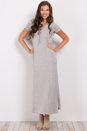 Heather Grey Basic Lace-Up Maxi Dress