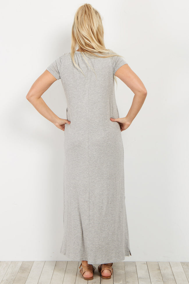 Heather Grey Basic Lace-Up Maternity Maxi Dress