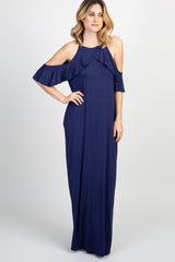 Navy Ruffle Trim Open Shoulder Maxi Dress