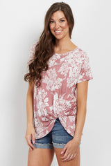 Pink Floral Cluster Knot Top