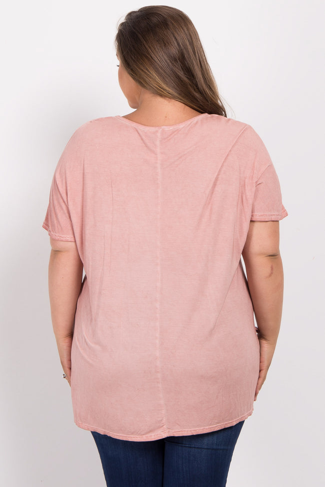 Mauve Faded Crisscross Front Plus Maternity Tee