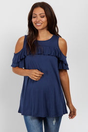 Navy Ruffle Accent Cold Shoulder Maternity Top