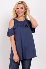Navy Ruffle Accent Cold Shoulder Top