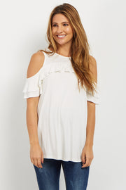 Ivory Ruffle Accent Cold Shoulder Maternity Top