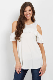 Ivory Ruffle Accent Cold Shoulder Top