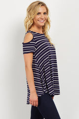 Navy Striped Cold Shoulder Crisscross Top