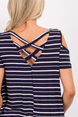 Navy Striped Cold Shoulder Crisscross Maternity Top