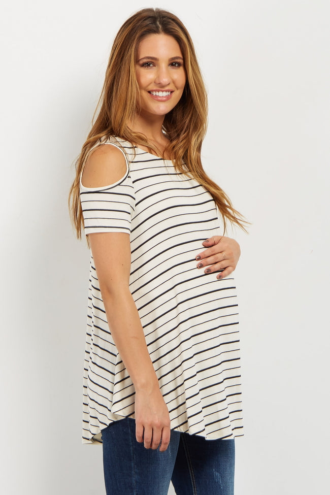 Ivory Striped Cold Shoulder Crisscross Maternity Top