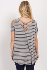 Grey Striped Cold Shoulder Crisscross Maternity Top