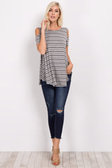 Grey Striped Cold Shoulder Crisscross Top