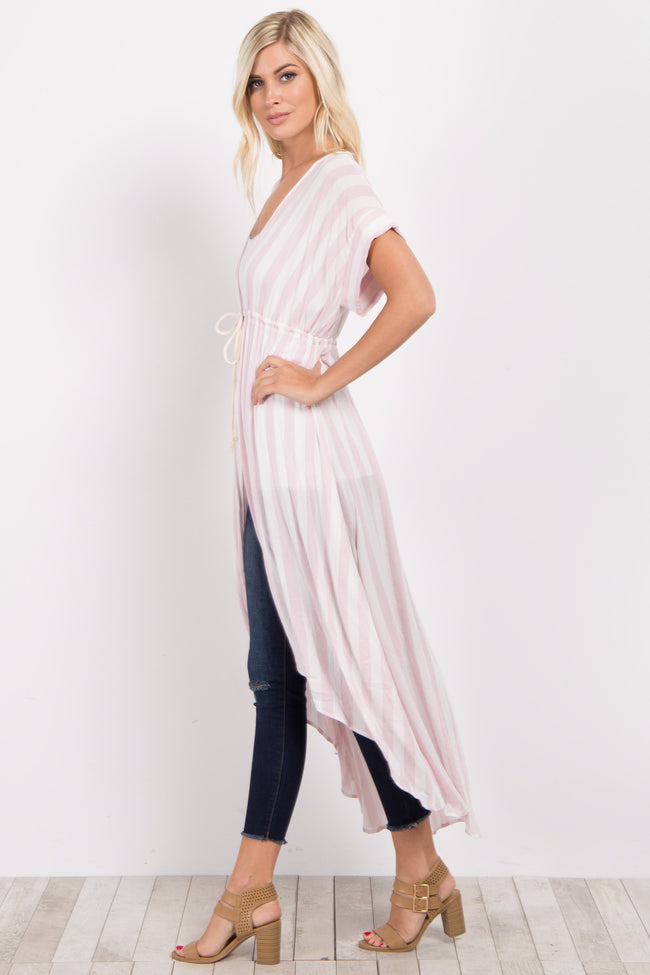Pink Striped Hi-Low Long Kimono
