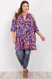 Navy Floral Cold Shoulder Plus Blouse