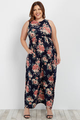 Navy Floral Sleeveless Plus Maxi Dress