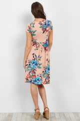 Peach Floral Pleated Dress