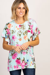 Mint Floral Ruffle Sleeve Maternity Top
