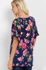 Navy Floral Ruffle Sleeve Top