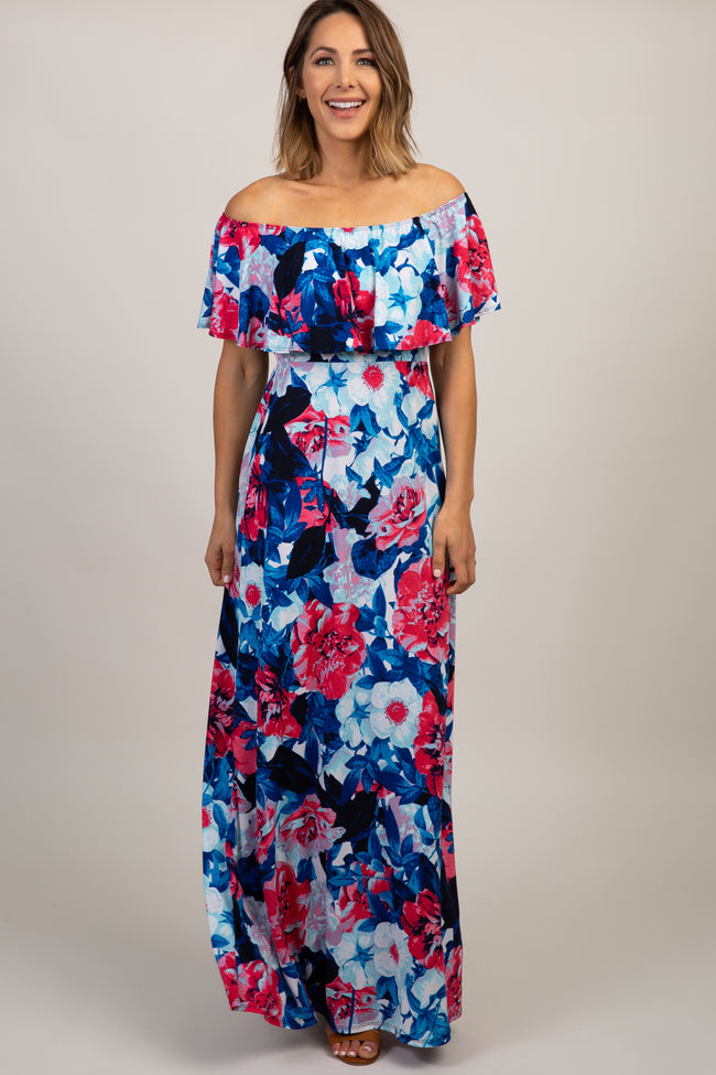Blue Off Shoulder Ruffle Trim Maxi Dress