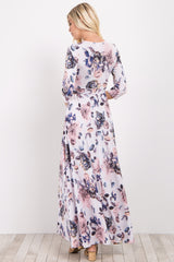 White Floral Sash Tie Maxi Dress