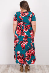 Teal Floral Hi Low Midi Plus Maternity/Nursing Dress