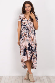 Pink Floral Hi-Low Nursing/Maternity Wrap Dress