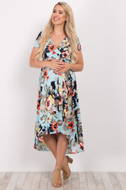 Mint Green Floral Hi-Low Nursing/Maternity Wrap Dress
